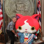 Governor Ige with Hawaii Tourism Japan kids ambassador Jimbanyan