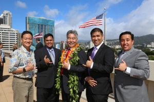 (from left) Burt Lum, Gerome Catbagan, Gov. Ige, state Chief Information Officer Todd Nacapuy, and Jayson Hayworth from the ETS Code Challenge.