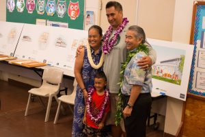 DHHL director Jobbie Masagatani, Gov. Ige and happy families at the lot selection in Waimanalo