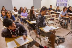 Students attended a speech class at Roosevelt High School this month, part of the Early College curriculum gaining steam in the public schools system. photo: Dennis Oda, Star-Advertiser