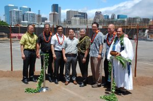 The governor joined Kamehameha Schools officials for the Keauhou Lane groundbreaking, a 209-unit rental project.