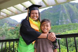 Windward CC graduate Dee Chaves and her son Ikaika.