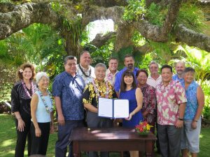 Governor Ige with Rep. Nadine Nakamura, who introduced the bill, and Kauai legislators, county and community leaders at Grove Farm Homestead and Museum.