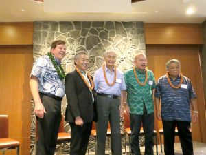 """THE BIG PICTURE: Governor Ige joined Hawaii Business editor Steve Petranik and past governors George Ariyoshi, John Waihee and Ben Cayetano at the Aug. 9 """"Visions"""" event."""