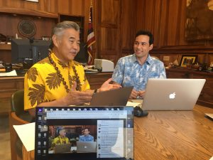 In a Sept. 22 Facebook Live segment, the governor and Rep. Chris Lee, a member of the state's Climate Commission, talked about how Hawai'i can take action now to protect itself from sea level rise and other effects of global warming.