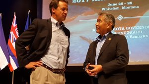 Governor Ige talks with Gov. Steve Bullock of Montana at a recent WGA meeting.