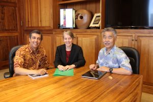 PARTNERSHIPS: Gov. Ige with DHS director Pankaj Bhanot and DOH director Dr. Ginny Pressler at the State Capitol.