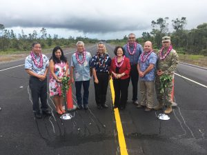 Officials gathered for the Oct. 10 dedication of the Daniel K. Inouye Highway's final phase on Hawai'i island, including (center) Mayor Harry Kim, Gov. Ige and U.S. Sen. Mazie Hirono.