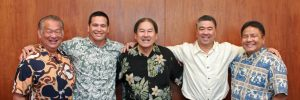 Former HDOT director Ford Fuchigami (center) with deputies Darrell Young, Ed Sniffen, Ross Higashi and Jade Butay.