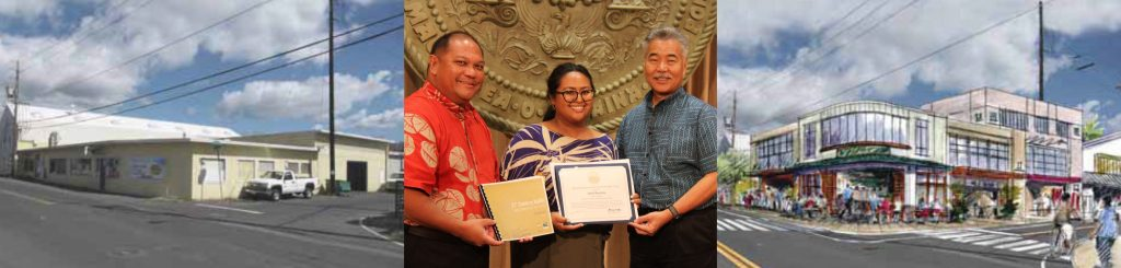 The Kalihi 21st Century report shows how Pu'uhale Rd. could become a walkable, mixed-use district of housing and businesses to transform the Kalihi area. The governor praised the community vision team that included resident April Bautista and Office of Planning director Leo Asuncion.