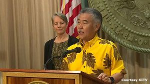 At podium: Gov. Ige and DOH director Ginny Pressler