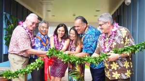 HOUSING PARTNERS: Gov. Ige joins Kaua'i officials and advocates at blessing for the Kaniko'o Rice Camp rental apartments for seniors.
