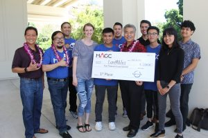 MAKING IT REAL: Gov. Ige with UH student winners at the state's 2017 Code Challenge