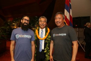 Gov. Ige with DevLeague co-founders Russel Cheng and Jason Sewell