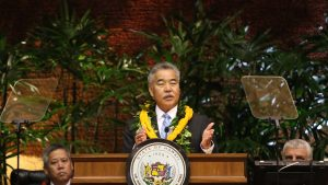 Governor David Ige delivers his 2018 State of the State address at the Capitol