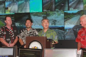 Gov. Ige, and transportation officials announce road improvements to help families save time in traffic.