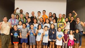 Pearl City Highlands students and supporters celebrate representing the state at the World Lego Festival for robotics.