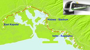 """An O'ahu map shows three priority areas for TOD """"Smart Communities"""" with an illustration of the train."""