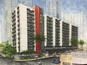 An architect's rendering of the Hale Kewalo project in Kaka'ako.