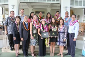 Statewide 2018 Teacher of the Year nominees with Governor and Mrs. Ige, Dr. Kishimoto and Board of Education chair Lance Mizumoto at Washington Place. Vanessa Ching (center) from DOE's Leeward District was named the overall state winner.