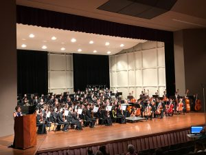 The award-winning Moanalua High School Symphony Orchestra at a performance emceed by first Lady and former vice principal Dawn Amano-Ige.