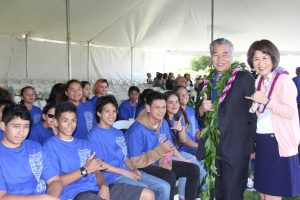 Waimea Middle students with the governor and first lady at the building dedication.