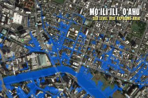 A map from the Climate Commission report shows sea level rise exposure area in Mo'ili'ili.