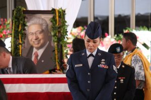 The Hawai'i National Guard stood watch as the late Sen. Akaka lay in state in the Capitol rotunda.
