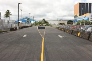 The driveway entrance to Terminal 3 at the Daniel K. Inouye International Airport is located at 3073 Aolele Street between the Delta Cargo and United Cargo facilities.
