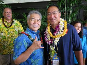 Honolulu Little League manager Gerald Oda with the governor