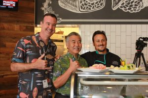 Gov. Ige with Rick Jauert and Andy Ocetnik at the new Makai Plantation.