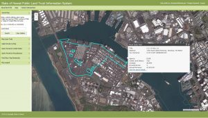 A satellite image with information available on DLNR's new Public Land Trust Information System (PLTIS).