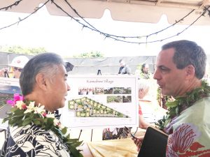 Gov. Ige with Kaiwahine Village developer Doug Bigley on Maui.