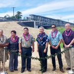 Gov. Ige with federal, state and county partners at Hanapepe River Bridge.