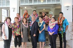 Gov. Ige, first lady Dawn Amano Ige and DOE Superintendent Christina Kishimoto (center) with Hawai'i's Teacher of the Year Mathieu Williams (far right) and other district winners and officials.