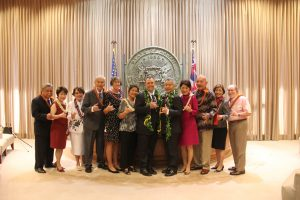 Present and former governors and first ladies: (from left) the Cayetanos, the Ariyoshis, Linda Lingle, Lt. Gov. Josh Green and wife Jaime Ushiroda, Gov. David Ige and first lady Dawn Amano Ige, the Waihees and Neil Abercrombie.