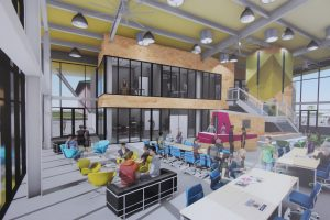 A rendering of the Enterpreneurs' Sandbox in Kaka'ako, a workspace to support technology and innovation.