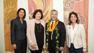 NEW PRE-K VISION: Governor Ige with Lauren Moriguchi, BOE Chair Catherine Payne and DOE Superintendent Christina Kishimoto.