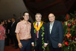 PARTNERSHIPS: Dr. Daniel Cheng and Queen's CEO Art Ushijima with the governor.