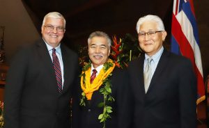 Governor Ige with KIUC CEO David Bissell and Hawaiian Electric CEO Alan Oshima.