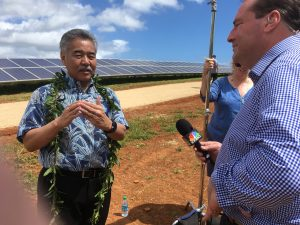 Governor Ige at the Kaua'i Island Utilities Co-Operative (KIUC) solar farm.