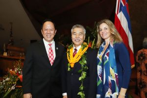 Kamehameha Schools CEO Jack Wong and Hawai'i Green Growth CEO Celeste Connors with the governor.