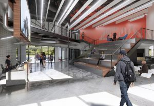 An architectural rendering of the lobby in the $33 million creative media facility.