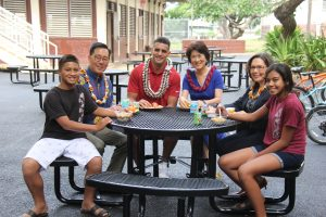 First lady and Marcus Mariota in the courtyard with (from left) Chrisciah Keawe, Keith Amemiya, principal Anne-Marie Murphy and Kanani Kanewa.
