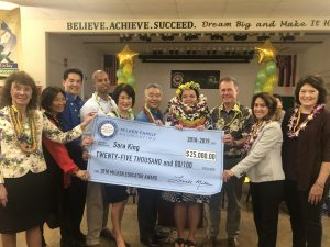 Well-wishers surround Ala Wai teacher Sara King as the state's Milken winner.
