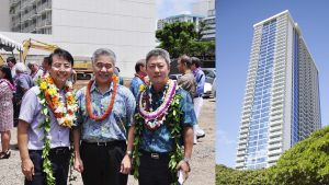 Gov. Ige with president Timothy Yi (left) and CEO Simon Kim of SamKoo Corp. at the for-sale Kapiolani Residence tower near Ala Moana Center, built under the state's 201H affordable housing law.