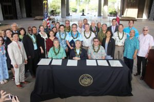 GLOBAL GOALS, LOCAL ACTION: Gov. Ige joined House speaker Scott Saiki, Senate president Ron Kouchi and other community leaders April 18 at the Capitol to celebrate the state as a Untied Nations partner.
