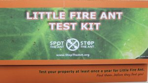 The public can use Little Fire Ant test kits to see whether they have infestations in their yards.
