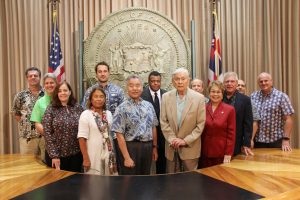 Gov. Ige and former Gov. George Ariyoshi with public and private sector aquaculture advocates.