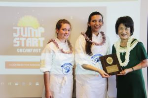 "Moanalua High students Ashley Hendrickson and Gilliah Bode took top honors in the ""sweet"" breakfast category for their yummy acai bowl."